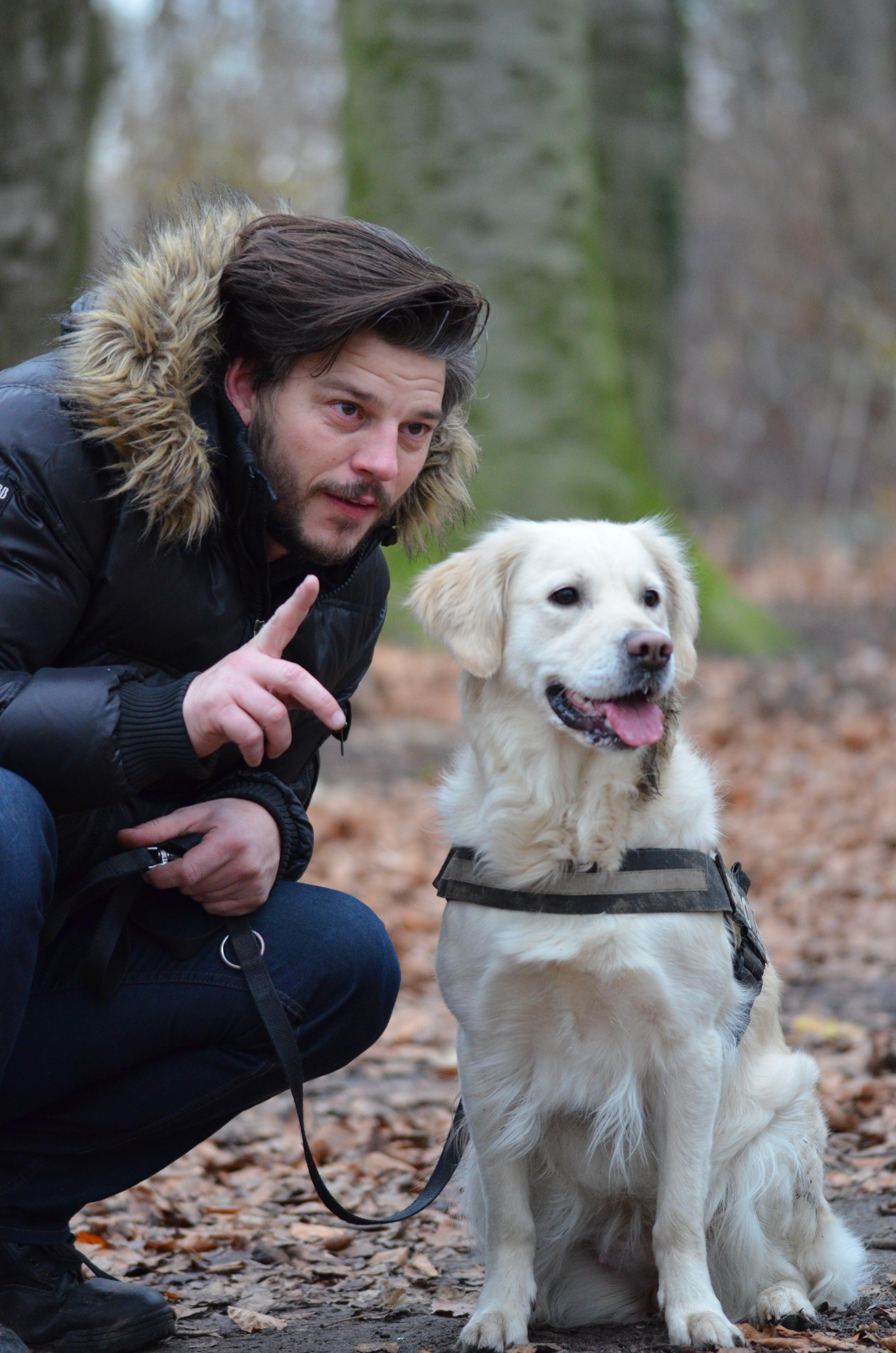 Mann som trener hunden sin
